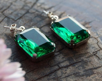 Emerald Octagon Treasure Earrings / Chunky Glass Earrings / Green Gems