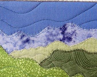Quilted Postcard Applique Textile Art Greeting Card Landscape Art Mountain Landscape Fiber Art Wall Nature Postcard fabric Postcard