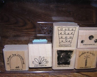 Stampin up FUN FILLED 6 pc stamp set used flowers words baskets shopping