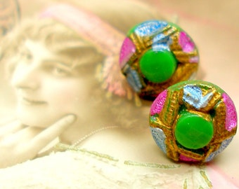 1920s Tiny BUTTON earrings, Green glass on sterling silver posts. Confetti Party Antique button jewelry, jewellery.
