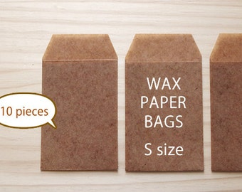 10pce - Waxed paper bags - Brown color - S SIZE