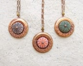 Sea Urchin Necklace - Pick Your Color - Pink Green Brown - Copper Vintage
