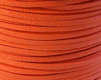 3mm Faux Suede Leather Cord (C44) Neon Orange 15 feet 5 Yards for Crafts Jewelry Bracelets Necklace Stringing Suede Lace Shipping from USA