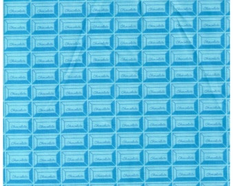 HALF YARD - Chocolate Squares, Blue - Cotton Sheeting - Kokka, Japanese Import