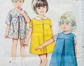 Vintage Girls Dress Sewing Pattern Size 5 Jumper Short Sleeve Bow Collar