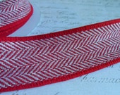 Red and White Herringbone Tweed Ribbon Trim. Approx 1 1/2 inch wide