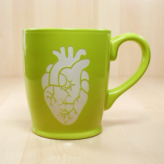 Anatomical Heart Mug - Green - coffee cup