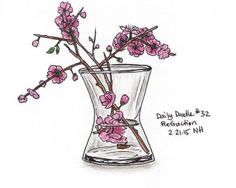 No.32 Refraction / Original Artwork / Illustration / Daily Doodle / Cherry Blossom Drawing / Flowers / For Her
