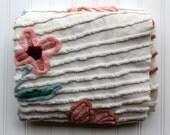 Vintage Chenille Bedspread Piece - Fluffy Cotton Cotton Flowers - White Pink Green Cutter Chenille