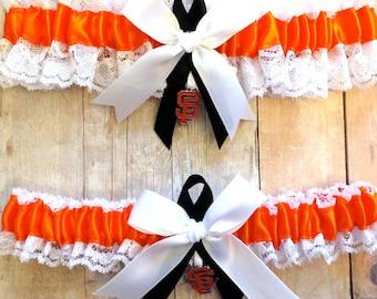 San Francisco Giants Wedding Garter Set with charms  Lace  Handmade   SF keepsake and toss OWBG