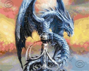 Dragon with sword - fantasy counted cross stitch kit