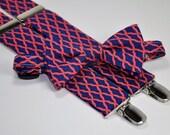 Men's Bow Tie and Suspender Set - Navy and Coral Lattice - Custom Suspenders - Wedding Bow Tie