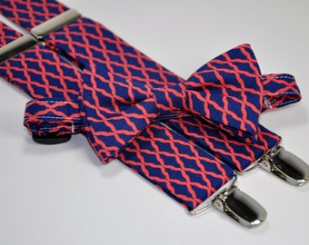 Boy's Bow Tie and Suspender Set - Navy and Coral Lattice - Custom Suspenders - Wedding Bow Tie - Toddler Suspenders - Baby Ties