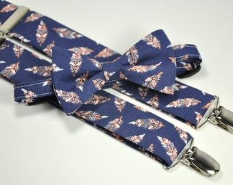 Boy's Bow Tie and Suspender Set - Navy and Peach Feathers