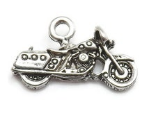 4 Motorcycle Charms silver tone metal (S402)