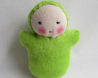 Frog green, Waldorf Doll, germandolls, pocket baby, Waldorf toy, gift for kids, gift for mothers