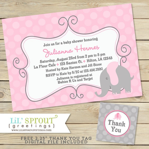 Elephant Girl Baby Shower Invitation - free thank you tags - Printable Baby Shower Invitation- Pink Gray Elephant Invitation