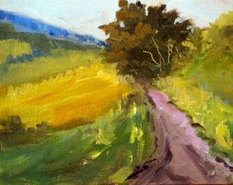 Original Landscape Oil Painting, Country Path, Small 4x5 Canvas, Miniature Rural Scene, Tree, Fields, Road, Green, Gold, Trail, Tiny Art