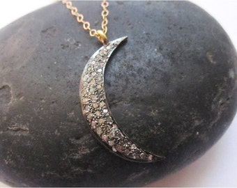 Midnight crescent moon black pave diamond and gold necklace