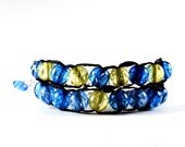 Blue and Yellow with Gold Clasp - Ablet Knitting Abacus - Row Counting Bracelet