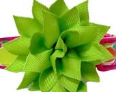 FLOWER ONLY: Green Grosgrain Flower Removable Dog Collar Add-on