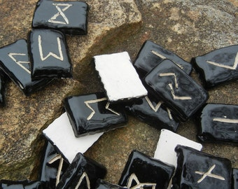 Elder Futhark Rune Set - Black and White Ceramic