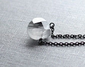 Tourmalinated Quartz Necklace, Oxidized Silver, Quartz Gemstone Necklace, Gift for Her