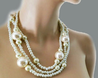 Chunky Pearl Necklace, Large Pearl Necklace, Pearl Wedding Necklace, Bridal Chunky Necklace, Statement Cream Ivory Pearls, Bridesmaid HALA