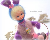 Bunny Needle Felted Doll Bunny Rabbit Easter Decoration Retro Kitsch Vintage Inspired Art Doll