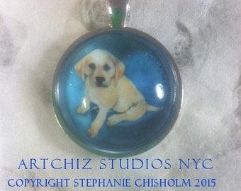 Blonde Labrador Retriever Puppy Jewelry. Portrait. - Real Glass - 1 Inch Circle Bezel Pendant Blonde Lab - Pretty Boy