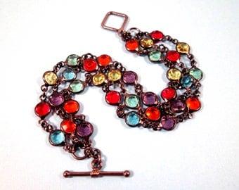 Three Strand Bracelet, Colorful Glass Bezel Bracelet, Gunmetal Silver Beaded Bracelet, FREE Shipping U.S.