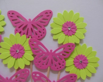 Flower Cupcake Toppers - Lime Green Daisies and Bright Pink Butterflies - Girl Birthday Parties - Girl Baby Showers - Set of 12