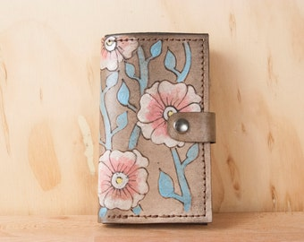 iPhone 6 Case - Leather Wallet iphone Case in the Aurora Pattern - Flowers in pink and turquoise - for iPhone 6, 6 plus or iPhone 5