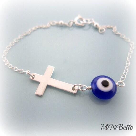 Sideways Cross and Evil Eye Bracelet. Blue Evil Eye Sterling Silver Bracelet. Sideways Cross Bracelet