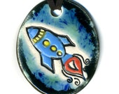 Rocket Ceramic Necklace in Black and Blue