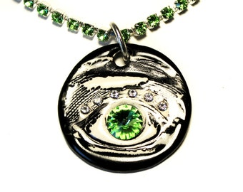 3rd Eye Sparkle Surly Necklace with Swarovski Crystals in Black with Green Rhinestone Chain