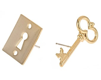 ON SALE: 14k yellow gold plated lock and key secret studs. Unisex, gift for couples, gift for friends, steampunk, victorian, trendy, teen