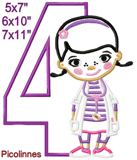 Doctor girl 4 birthday machine embroidery applique design for 7x11 bathroom layouts