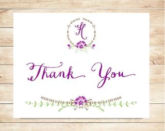 Purple Flower Monogram Thank You Cards - Purple Stationery