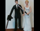 Custom Chainsaw Arm Groom Zombie Hunters Wedding Cake Toppers Figure set - Personalized to Look Like Bride Groom from your Photos