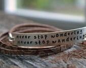 Leather Wrap Bracelet - Personalized Bracelet - Brown Leather - EcoFriendly Sterling Silver - Custom - HandStamped - Boho Bohemian Style