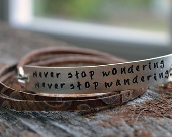 Leather Wrap Bracelet - Personalized Bracelet - Brown Leather - EcoFriendly Sterling Silver - Custom - HandStamped - Boho Bohemian Style