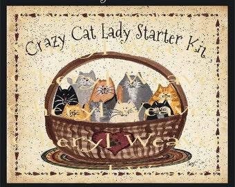 Crazy Cat Lady Starter Kit  print  8 by 10 Inch Primitive Folk Art Country Cheryl Weaver