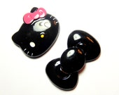 Large Kitty and Bow Cabochon, Black Bow, Kawaii Deco Supplies