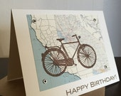 California Map and Bike Birthday Card - Gocco Screen-Printed Card
