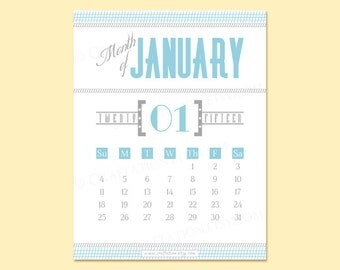 Modern Retro 2016 Printable Monthly Calendar - Typography / Simple / Old Fashioned - Lines & Borders - Digital PDF - Instant Download