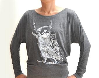 Zentangle Samurai Owl Ladies' Flowy Long-Sleeve Off Shoulder T-Shirt