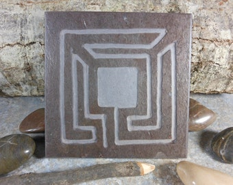 SQUARE LABYRINTH STONE - Finger Maze Meditational Tile  - Hand Carved Natural Slate Stone