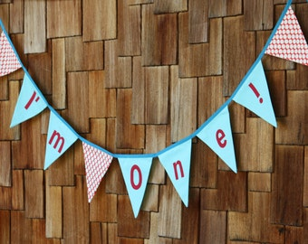 I'm One! Bunting Banner Birthday Flags, Boy or Girl Themed Photo Prop, Nursery Decoration, Party Banner Aqua Red Fabrics.