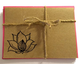 NEW Handmade Kraft Note Cards with Embossed Lotus- Black
